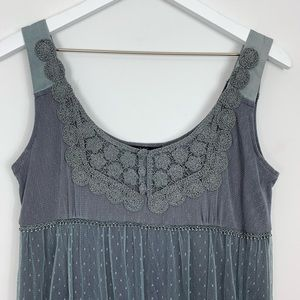 Anthropologie Dresses - Anthropologie Hazel Gray Lace Mini Dress Size S